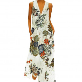Fashion Women's Casual Sleeveless V-neck Flower Print Long Party Dress Available Sizes S-XXL