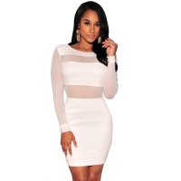 Ladies Hot New Novelty Long Sleeve Sexy Party Club Dress Backless Bodycon Bandage Dress Hollow Out Colors Available In Black And White