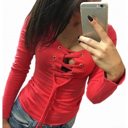 2017 Bottoming Shirt Long Sleeve Lace Up Tops Ladies Casual Shirts Fashion Slim Bandage Shirts