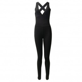 New Hot Women's Jumpsuit Active Wear Fitness Play Suit Sexy Pure Black Overalls For Her