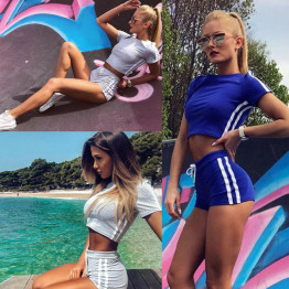 Hot Two Piece Women's Striped High Waist Sports Outfit Crop Top Shorts Yoga Workout Clothes Tracksuit Activewear Available Sizes S-XL