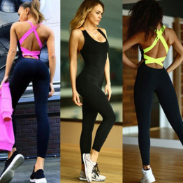 Hot Workout Tracksuit For Women One Piece Sport Clothing Backless Running Tight Dance Activewear Sportswear Gym Yoga Set Available Sizes S-XL