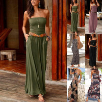 2020 Summer Dress Plus Size Beach Sexy Bandeau Holiday Off Shoulder Long Dress Ladies Summer Solid Party  Maxi Dresses