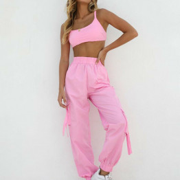 New 2 Piece Women's Fashion Fitness Sleeveless Crop Tops And Pants Leggings Tracksuit Set Workout Sports Gym Running Activewear Available Sizes S-L