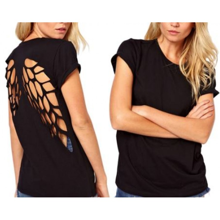 3f52b28c84837 Summer Hot T-shirts Angel Wings Short Sleeve 0-Neck Women Casual Shirts  Backless Casual Tops Black White Plus Size S-XXXL
