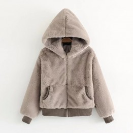 Ladies Fall Winter Faux Lambswool Loose hooded Fur Outerwear Jacket Very Warm And Soft