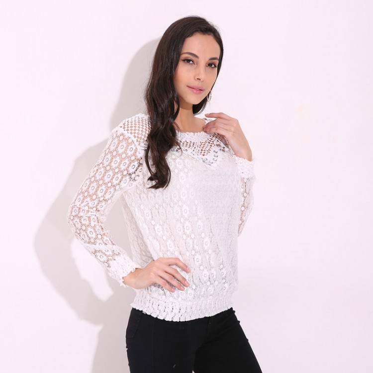 c1db0a1dd08 Classy Designer 2017 Autumn Womens White Lace Floral Blouse Hollow Out Sexy  Casual Tops Comes In Long Sleeve And Short Sleeve Sizes M thru 6XL
