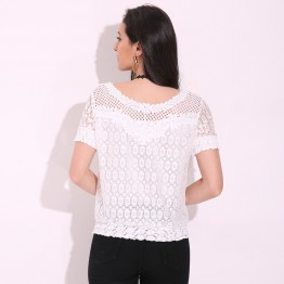 Classy Designer 2017 Autumn Womens White Lace Floral Blouse Hollow Out Sexy Casual Tops Comes In Long Sleeve And Short Sleeve Sizes M thru 6XL