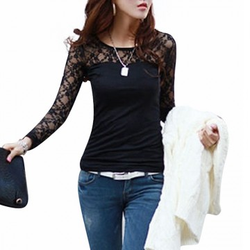 Hot Seller Autumn Womens Designer Fashion Sexy Slim Shirt Tops Lace Long Sleeve O-Neck Leisure Blouse Colors Black/White Sizes S-5XL