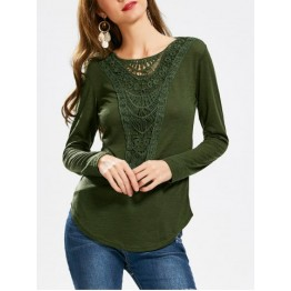 Casual Scoop Neck Hollow Out Crochet Spliced Solid Color T-Shirt For Women - Army Green - Xl