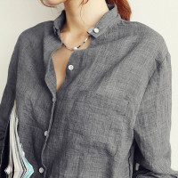 Womens All Season Top Fashion Linen Shirt Womens Long Sleeve Blouse Available In Colors White Gray Blue