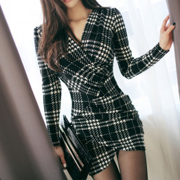 New Classy Dress Women's V-neck Office High Quality Elegant Long Sleeves Sexy Bodycon Evening Party Dress