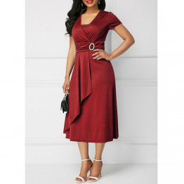 New Elegant Women's Dress High Fashion Short Sleeve Party Dress Size S-5XL Available In 4 Colors To Choose From