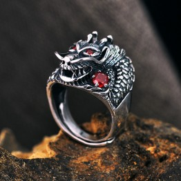 Guy's 100% 925 Sterling Silver Dragon Ring With Red Stones For Men Adjustable Very Fine Jewelry