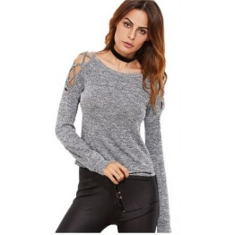 High Fashion Womens Quality Long Sleeve Tops Womens Clothing Autumn Casual Tee Shirt Grey Marled Crisscross Hollow Out Open Shoulder T-Shirt