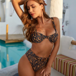 Classy Leopard High Waist Bikini Swimming Suit Women's Swimwear 2020 New Push Up Padded Bathing Suit Ring Belt Available Sizes S-L