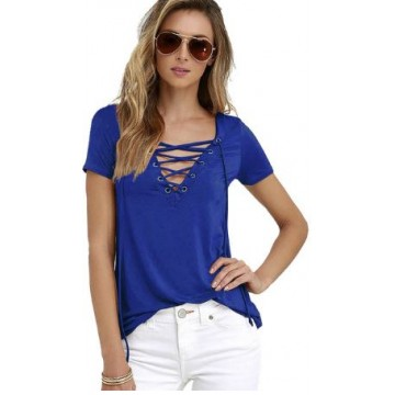 High Fashion Women T-shirts Short Sleeve Sexy Deep V Neck Bandage Shirts Women Lace Up Tops Tees T Shirt S-5XL32676293451