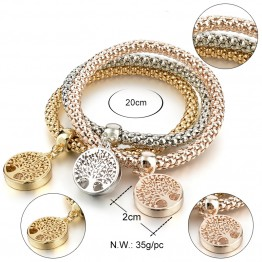 High Quality Best Seller Vintage Designer Austrian Gold Silver Color Tree of Life Charm Bracelet Popcorn Chain Jewelry For Women