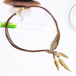 Beautiful Alloy Feather Statement Vintage Rope Chain Necklace Women Accessories