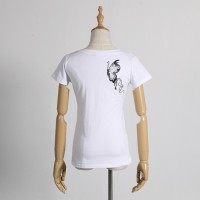 New Womens Fashion T-Shirts V-Neck Slim Short Sleeve Print Casual Lace Cotton White Plus Size Tops