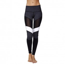 New High Waist Patchwork Black White Fitness Mesh Active Wear Leggings For Women High Quality Thick Material