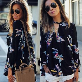 Designer Fashion Womens Floral Printed Blouse Autumn Spring Style Ladies Long Sleeve V-Neck Loose Shirts Sexy Top S Thru 3XL