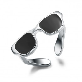 Genuine 925 Sterling Silver Classy Novelty Ring Black Sunglasses Enamel Sporty Tail Finger Ring For Women And Men