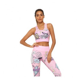 2 Piece Cute Pink Printing Yoga Set Women's Workout Gym Outfit Sets Sport Fitness Crop Top Leggings Running Ladies Suit Available Sizes S-XL