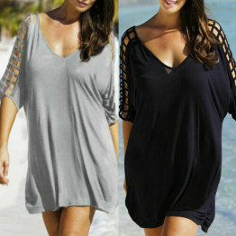 Sexy Women's Beachwear Bikini Cover Up T-Shirt Mini Dress Loose V Neck Dresses Beach Wear Cover Up Available Sizes M-XXXL