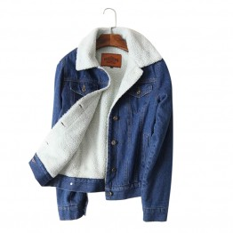 Ladies New Spring Autumn Winter Lambswool Jean Coat With 4 Pockets Long Sleeves Very Warm Outwear Denim Jacket