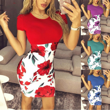 Hot Sexy Women's Slim Bodycon Mini Party Dress Casual Short Sleeve Dress Available Sizes S-5XL Women Clothing