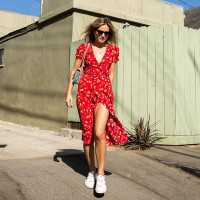 Hot Fashion Sweet Floral Print Sundress Summer V-Neck Dress Available In 2 Color Choices For Women