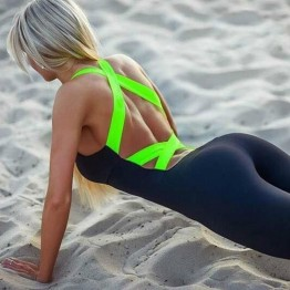 Ladies Sexy Skinny Fitness U-neck Active Wear Stretch Jumpsuit For Women Comes In Four Fluorescent Colors