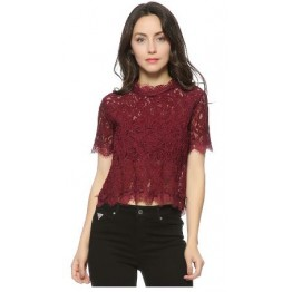 Sweet Lace Crop Tops Short Sleeve Womens Vintage Casual O-neck Blouse Full Back Zipper High Fashion High Quality