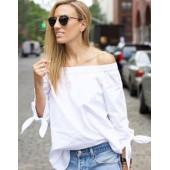 Hot Sexy Women Blouses Slash Neck Off Shoulder Tops Bow Long Sleeve Casual Shirts Plus Size 3XL