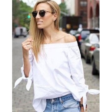 Hot Sexy Women Blouses Slash Neck Off Shoulder Tops Bow Long Sleeve Casual Shirts Plus Size 3XL32684471025