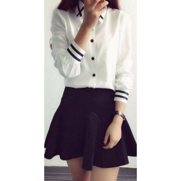 Fashion Designer Ladies Elegant Bow Tie White Blouse Chiffon Turn Down Collar Shirt High Quality