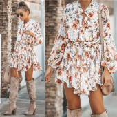 Elegant Sassy White Ruffled Mini Vintage Dress  Irregular Print Lantern Sleeve Chiffon Dress Lace Up