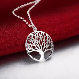 Fashion Tree of Life Pendant Necklace 925 Sterling Silver Jewelry Charm Gift For Women/Men