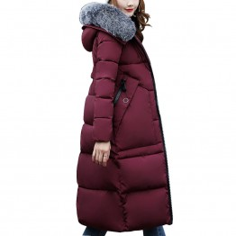 Winter Coat Women's High Fashion Cotton-Padded  Coat With Fur Collar Hooded Winter Jacket Long Parka Outerwear