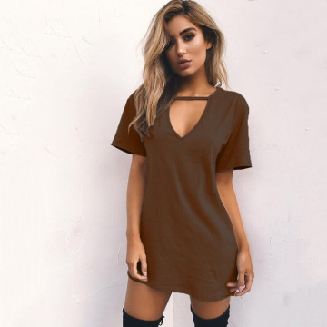 Hot Sexy Women's Deep V Neck Short Sleeve Loose Party Mini Dresses Available In 5 Colors