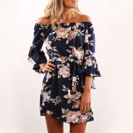 Women's Dress Short Sexy Off Shoulder Floral Print Style Available Sizes S-XL