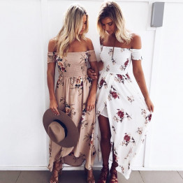 New Women's Off Shoulder Floral Print Dress Women Beach Summer Ladies Strapless Long Dress Female Available In XS-5XL And 7 Colors To Choose From