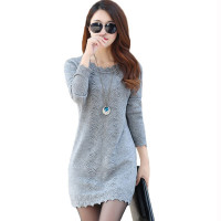 Classy Women's Sweater Dress Pullover 2020 New Knitted Sweater Long Sleeve Knitwear For Ladies Mini Dress