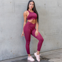 New Women's Yoga Set Fitness Seamless Leggings Clothing Sport Bra Pant Active Wear Training Suit Gym Workout Available Sizes S-L