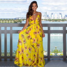 New Women's Sling Floral Long Dress V-Neck Sleeveless Evening Party Beach Casual Sundress Available In 3 Colors