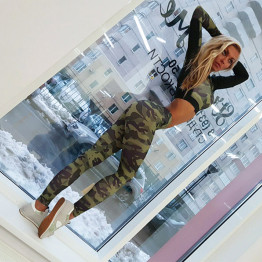 Hot Yoga Set Women's Sportswear Fitness Sport Suit Tracksuit Camouflage Compressed  Workout Activewear Gym Clothes Available Sizes S-XL