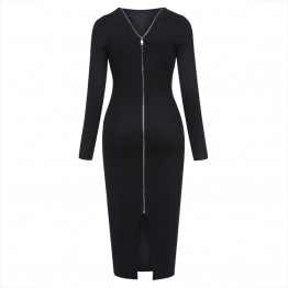 Ladies Sassy Classy Hot Black Backless Zipper Mid-Calf O-Neck Knitted Bodycon Dress