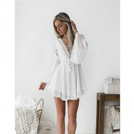 New Women's Sexy High Fashion Bohemian Mini Dress V-Neck Long Sleeve Lace Comes In White And Black